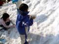 万博公園 雪遊び