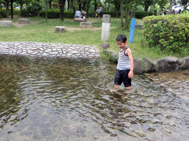 花園中央公園 水遊び 泳ぐ